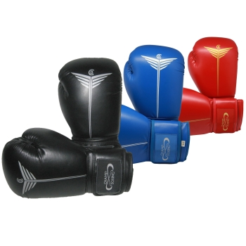 Gants de Boxe d'entrainement CHAMPBOXING - Noir - Rouge - Bleu