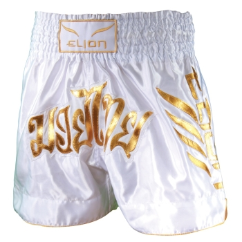 Short de Boxe Thaï ELION Brodé - Blanc & Or