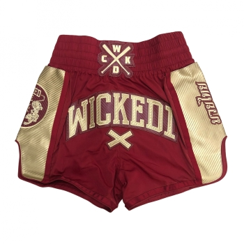 Short de Boxe Thaï Wicked One Shinning Bordeaux  et Or