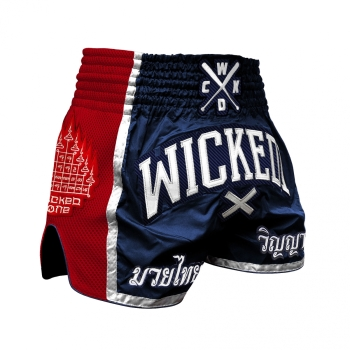 Short de Boxe Thaï Wicked One  FLAG   Navy/Rouge