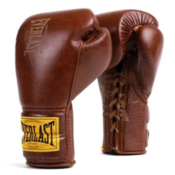 Gants de Boxe Marron Cuir Pro  a lacets EVERLAST Collection 1910