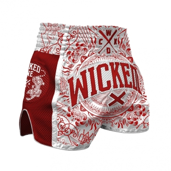 Short de Boxe Thaï Wicked One BRAIN Blanc/Rouge