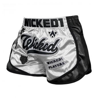 Short de Boxe Thaï Wicked One SQUAD Blanc/Noir