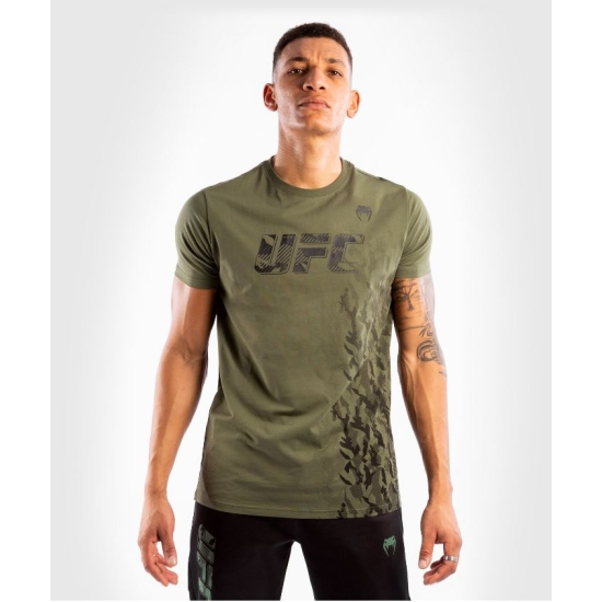 T-SHIRT MANCHES COURTES EN COTON HOMME UFC VENUM AUTHENTIC FIGHT WEEK - KAKI