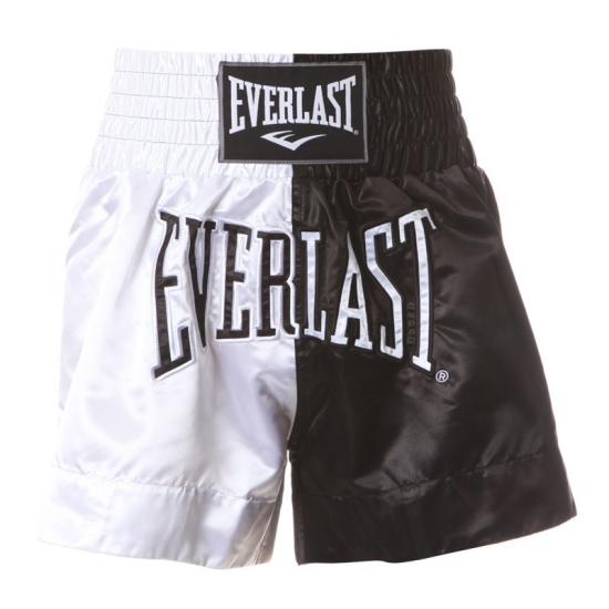 Short de Boxe Thaï EVERLAST Blanc/Noir