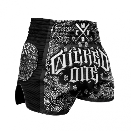 Short de Boxe Thaï Wicked One O.G Noir/Blanc