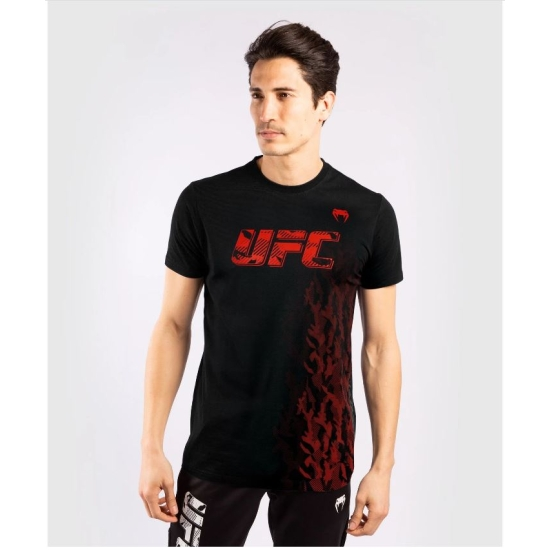 T-SHIRT MANCHES COURTES EN COTON HOMME UFC VENUM AUTHENTIC FIGHT WEEK - NOIR/ROUGE