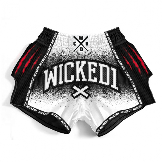 Short de Boxe Thaï Wicked One Savage  Blanc